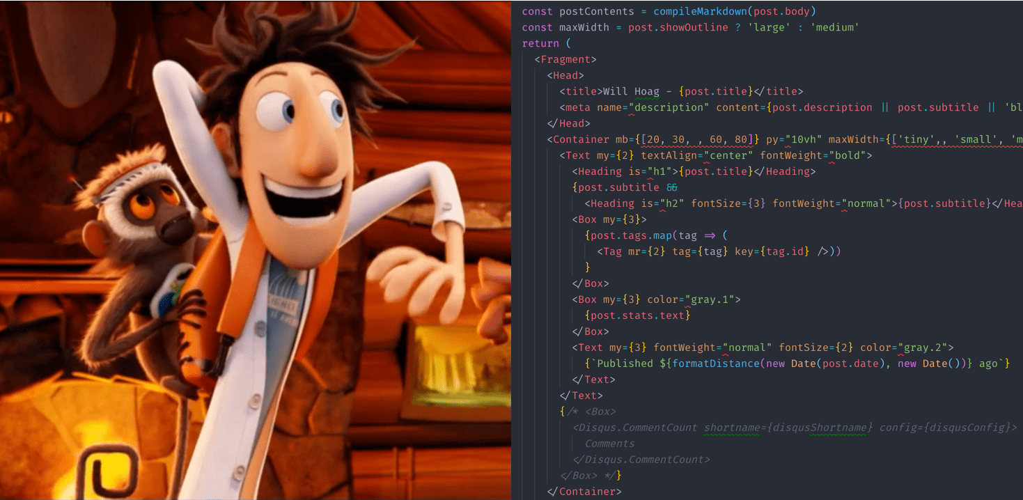 Split image of animation and code